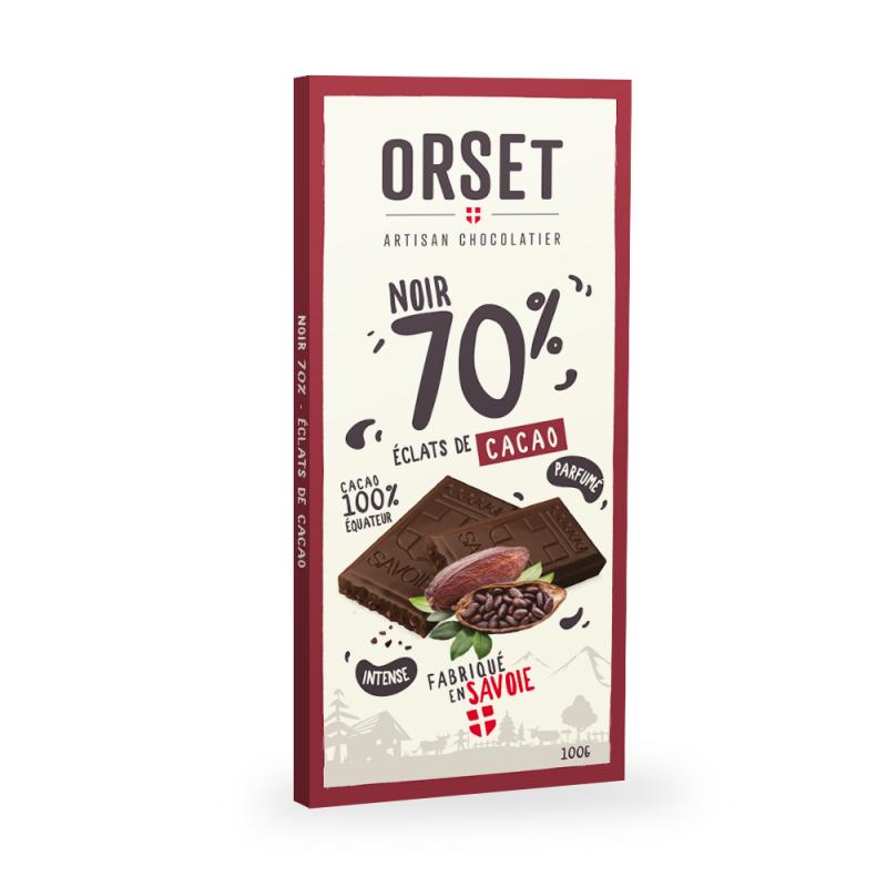 Tablette de chocolatnoir 70% aux éclats de cacao