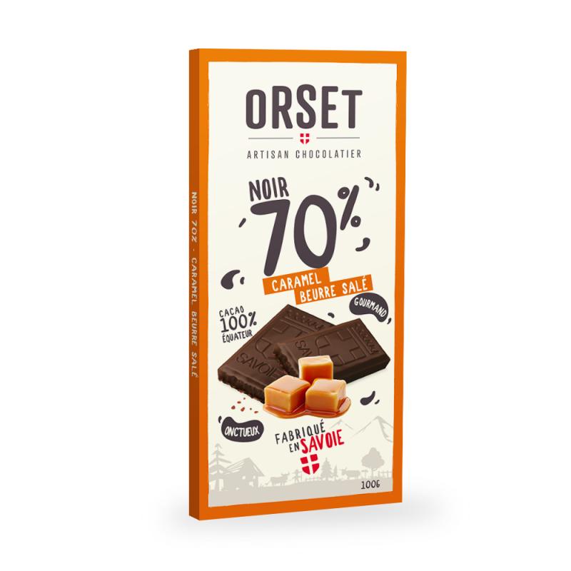 Tablette de chocolatnoir 70%au caramel beurre salé