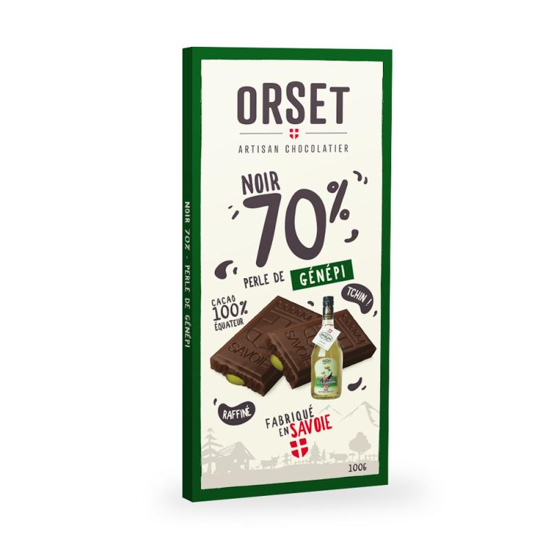 Tablette de chocolatnoir 70% à la perle de génépi