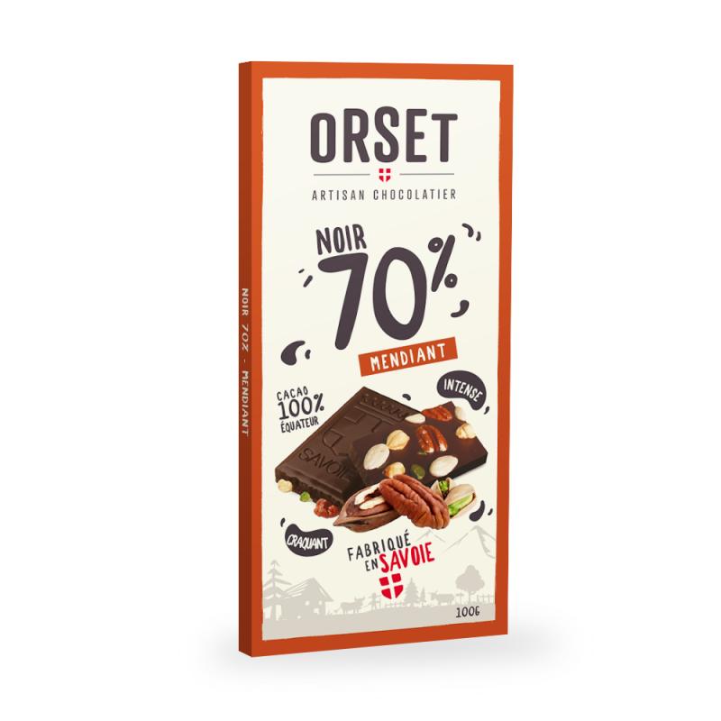 Tablette de chocolatnoir 70%aux mendiants