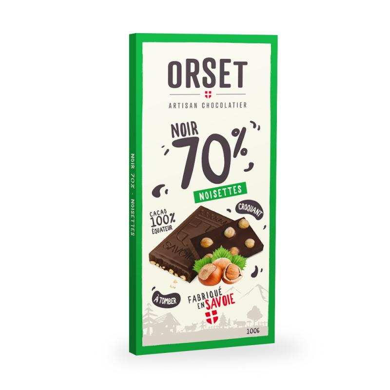 Tablette de chocolatnoir 70%aux noisettes