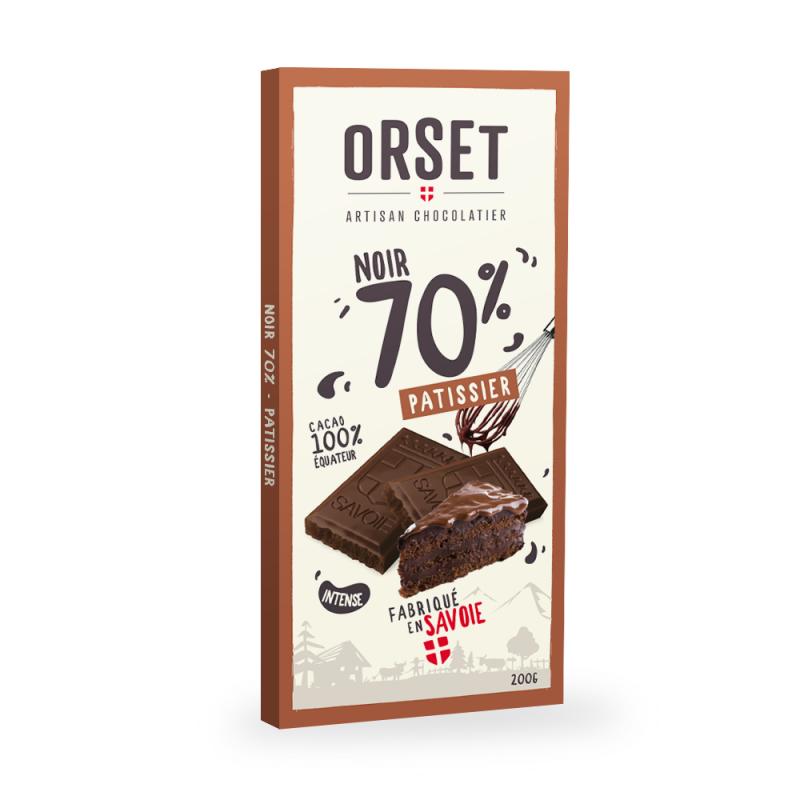 Tablette de chocolat noir 70% pâtissier