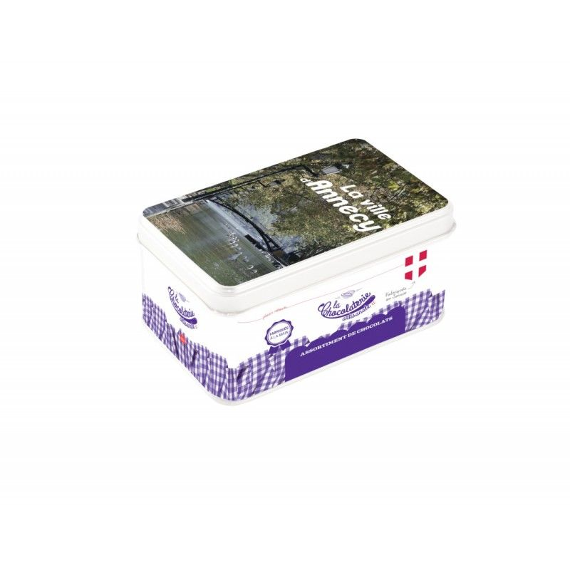 Boîte métal de napolitains de chocolat assortis bio (lait, lait gianduja, lait noisettes, noir) avec vue personnalisable
