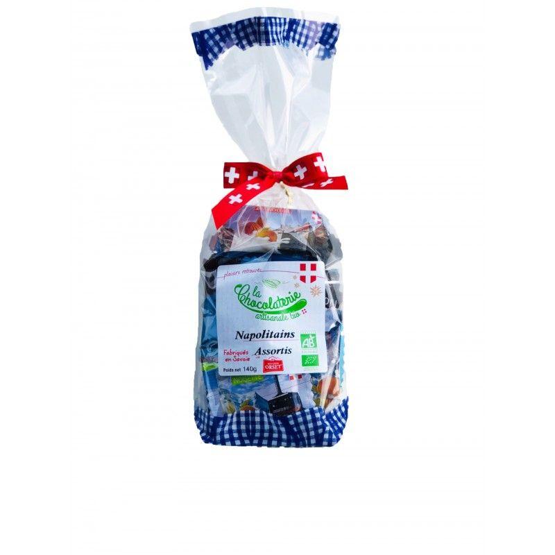 Sachet de napolitains de chocolat assortisbio (lait, lait noisettes, lait gianduja, noir)