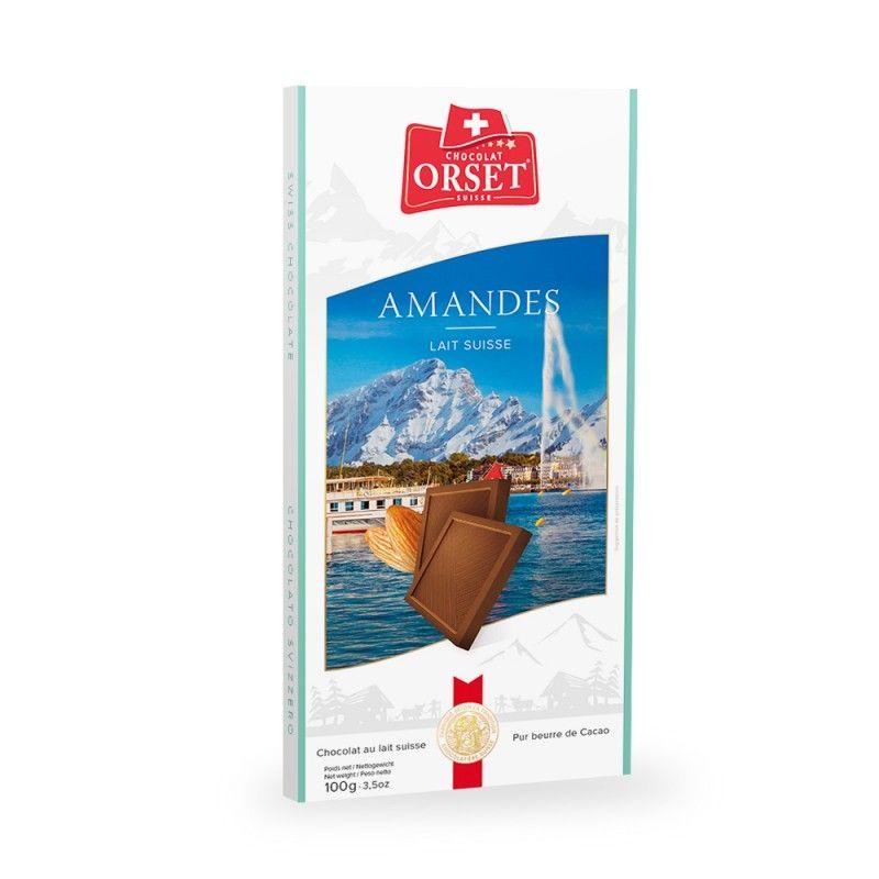 Tablette de chocolat au lait suisseavec éclats d'amande