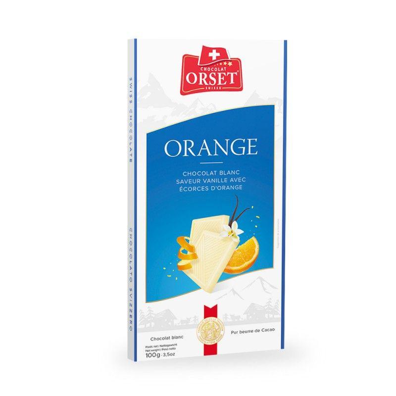 Tablette de chocolat blanc aux écorces d'orange