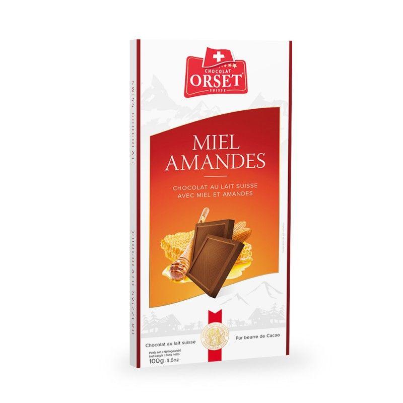Tablette de chocolat au lait suisse, au miel et aux amandes