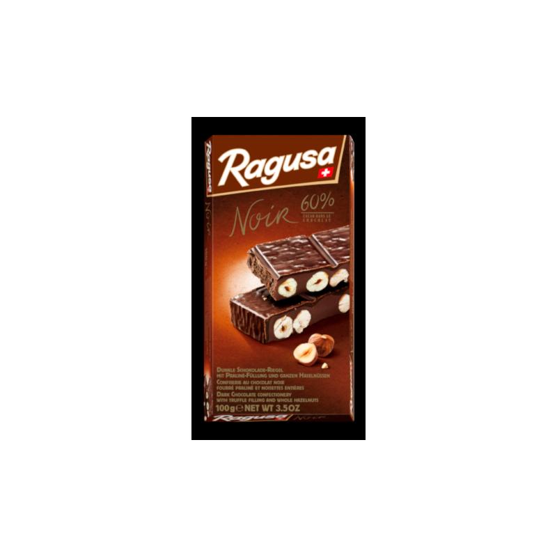 Confiserie au chocolat noir suisse 100% naturel fourré praliné et noisettes entières