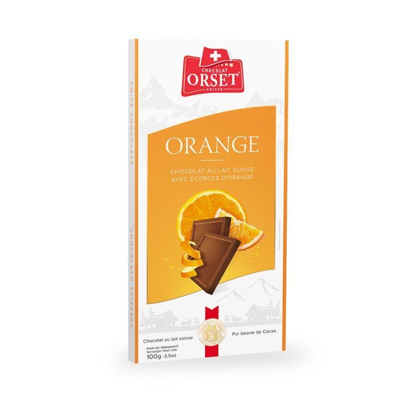 Tablette de chocolat au lait suisseavec écorces d'orange