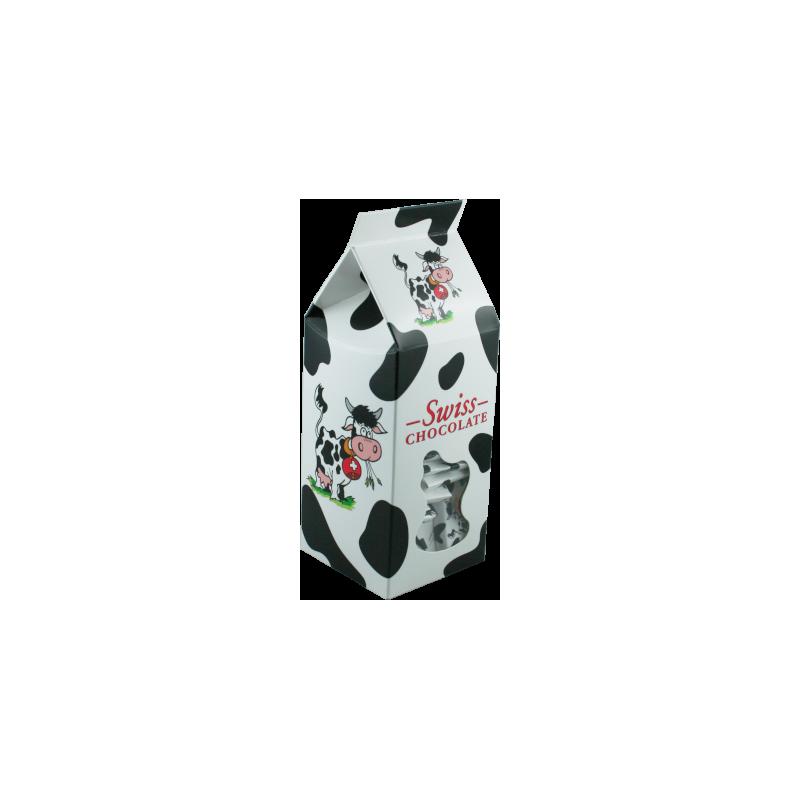 """Brique à lait avec napolitains dechocolat au laitaux motifs """"vache"""""""