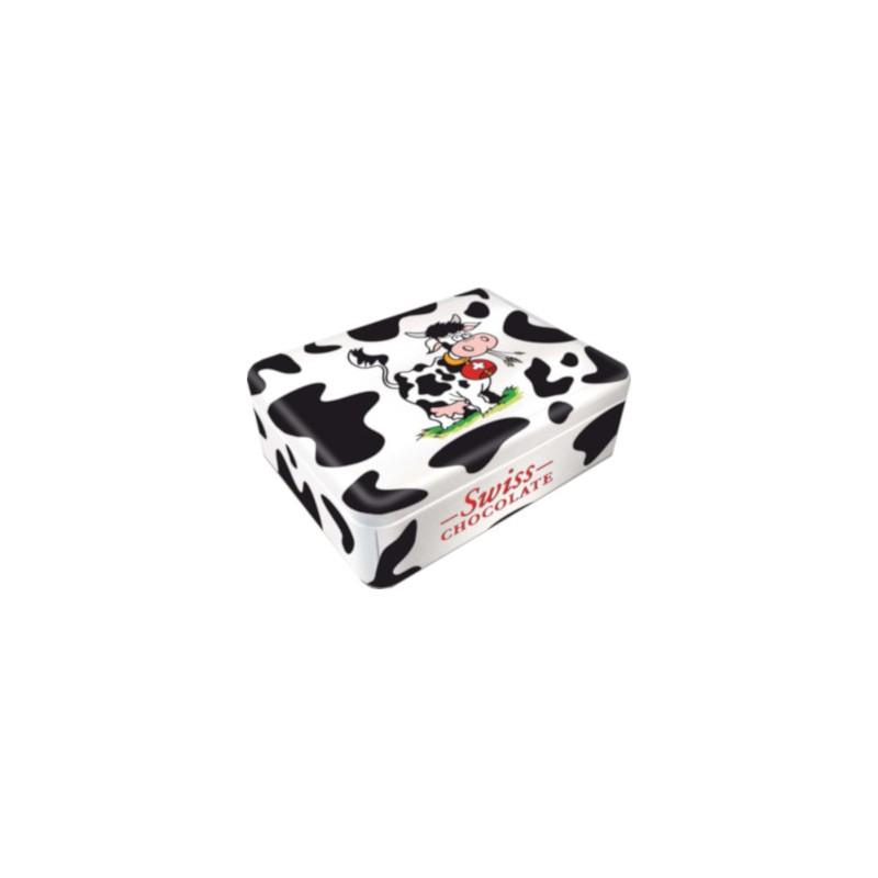 """Boîte métal carrée denapolitainsde chocolat au lait aux motifs """"vache"""""""