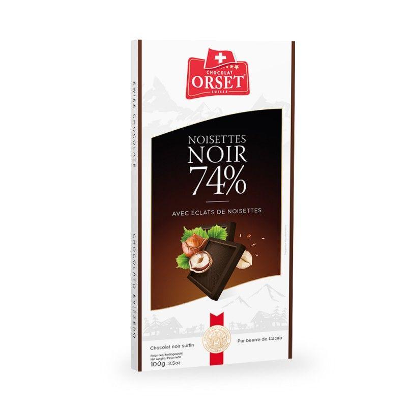 Tablette de chocolatnoir 74% avec éclats de noisettes