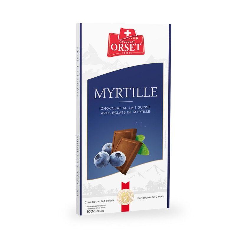 Tablette de chocolat au lait suisse avec éclats de myrtille