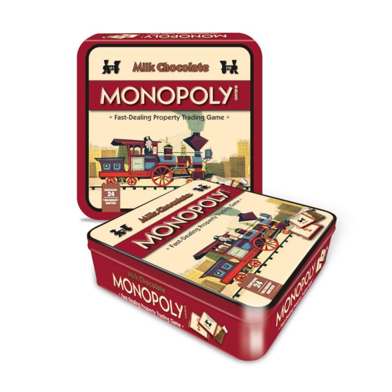 Le jeu original Monopoly dans sa boîte luxe avec cartes enchocolat au lait belge, plateau de jeu et roue