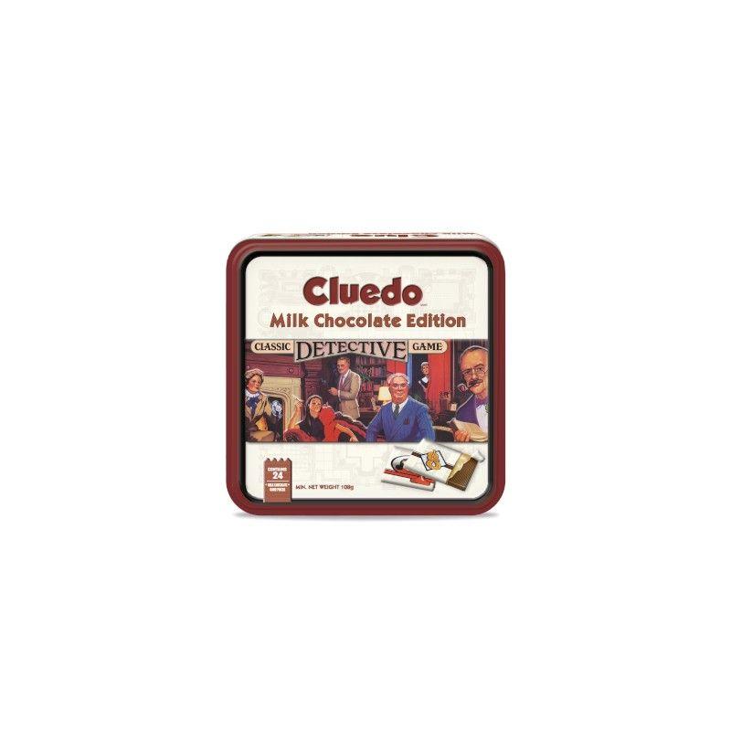 Le jeu original Cluedo dans sa boîte luxe avec cartes enchocolat au lait belge, plateau de jeu, feuilles de note, jetons et dés.