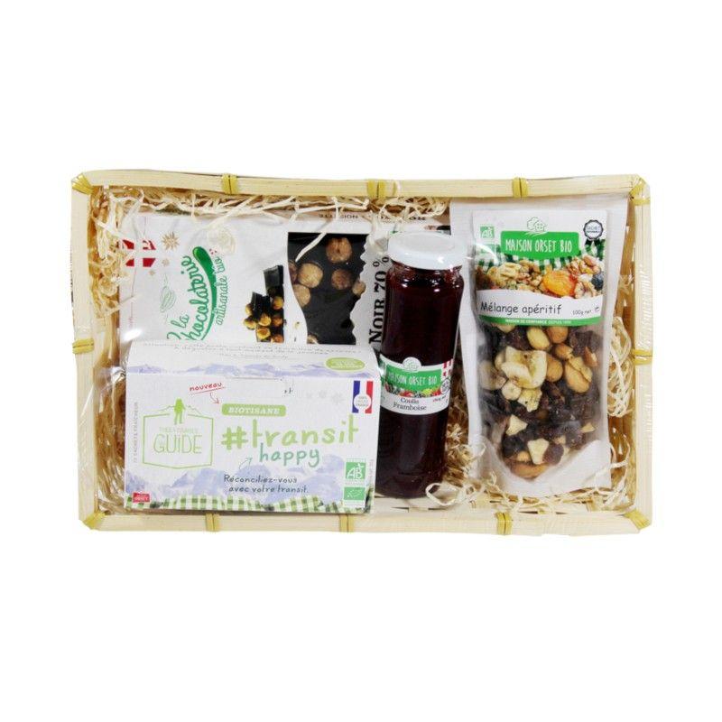 Panier festif avec tablette de chocolat noir 70% aux noisettes bio, coulis à la framboise bio, infusion transit bio et mélange apéritif bio