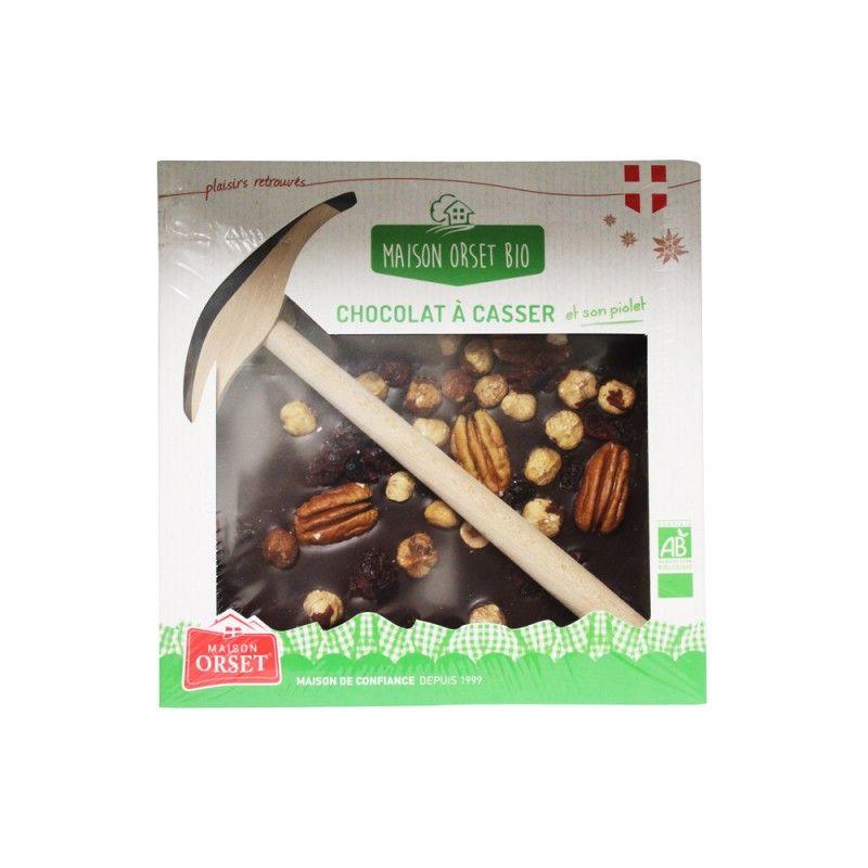Chocolat noir 70% aux mendiants à casser bio avec son piolet