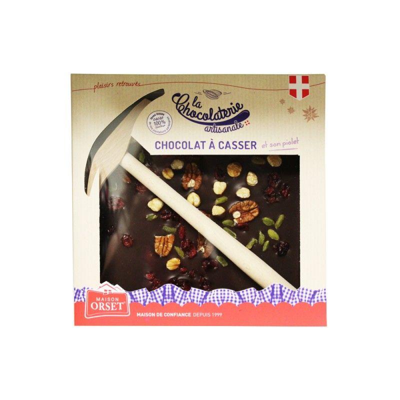 Chocolat noir 70% aux mendiants à casser avec son piolet