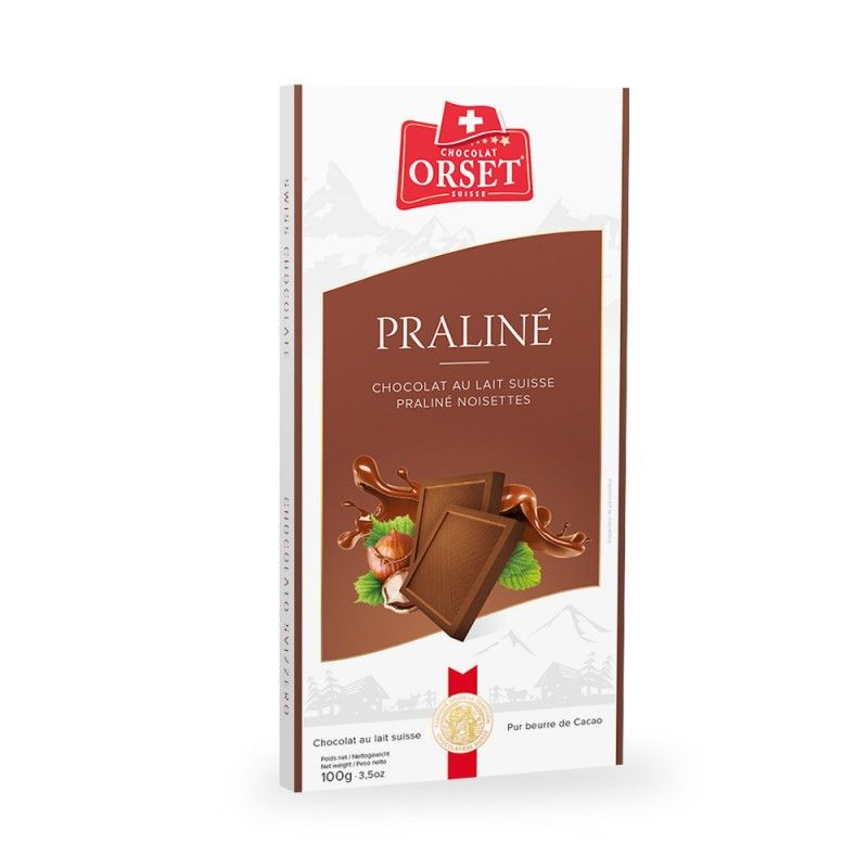Tablette de chocolatau lait suisse praliné noisettes