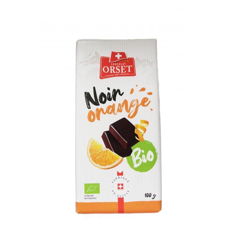 Tablette de chocolat noir suisse avec huile essentielle d'orange bio