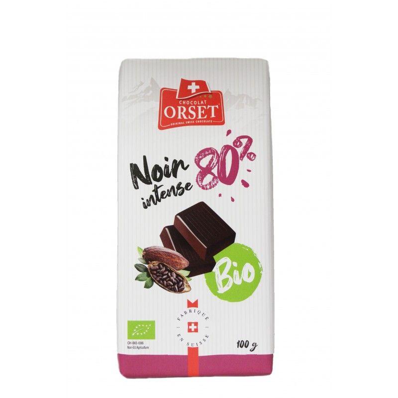 Tablette de chocolat noir suisse intense avec 80% de cacao bio