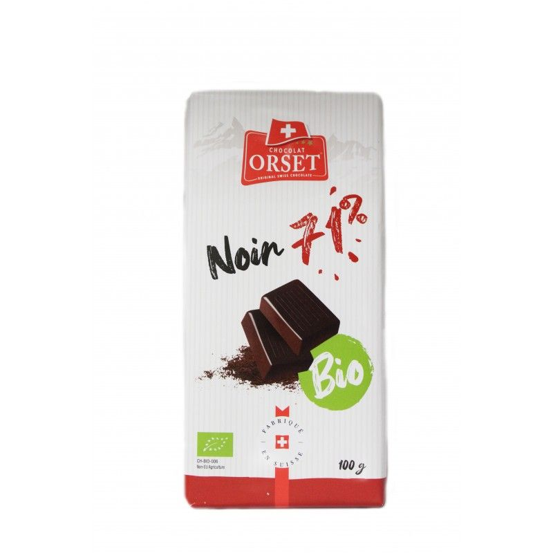 Tablette de chocolat noir suisse avec 71% de cacao bio
