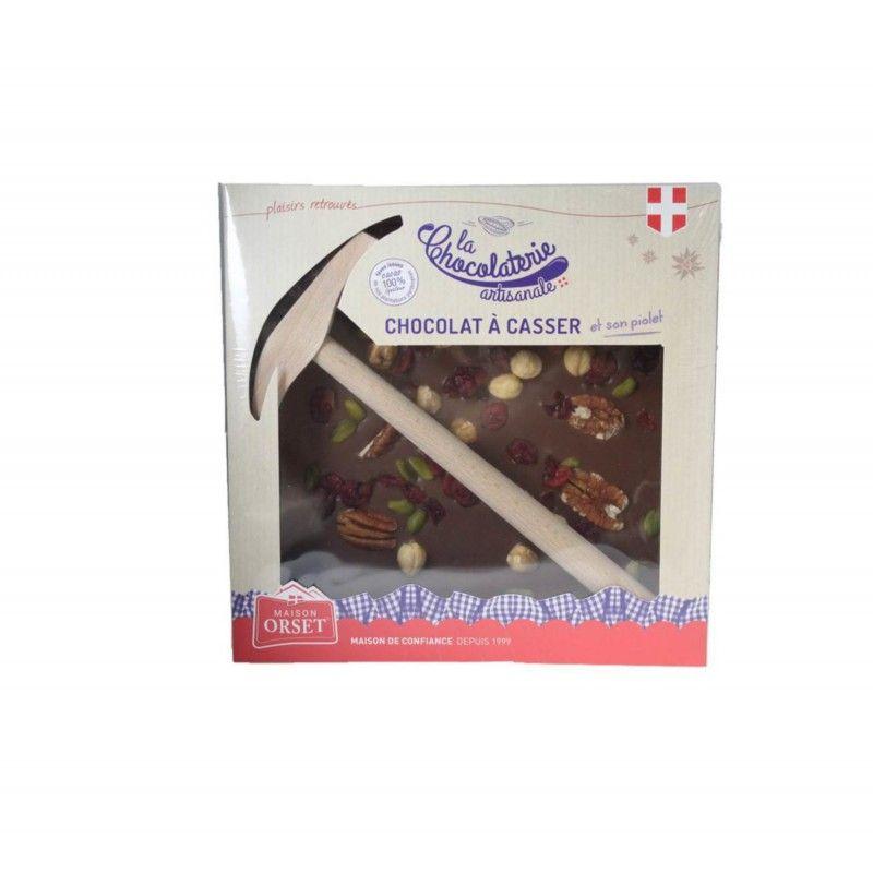 Chocolat au lait aux mendiants à casser avec son piolet