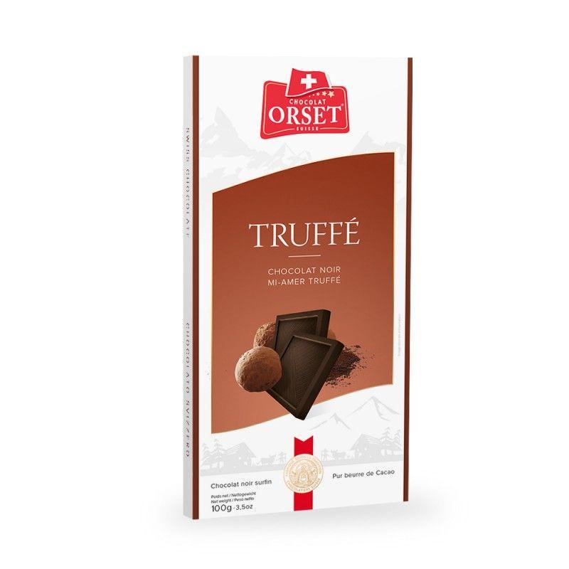 Tablette de chocolat noir mi-amerà la truffe