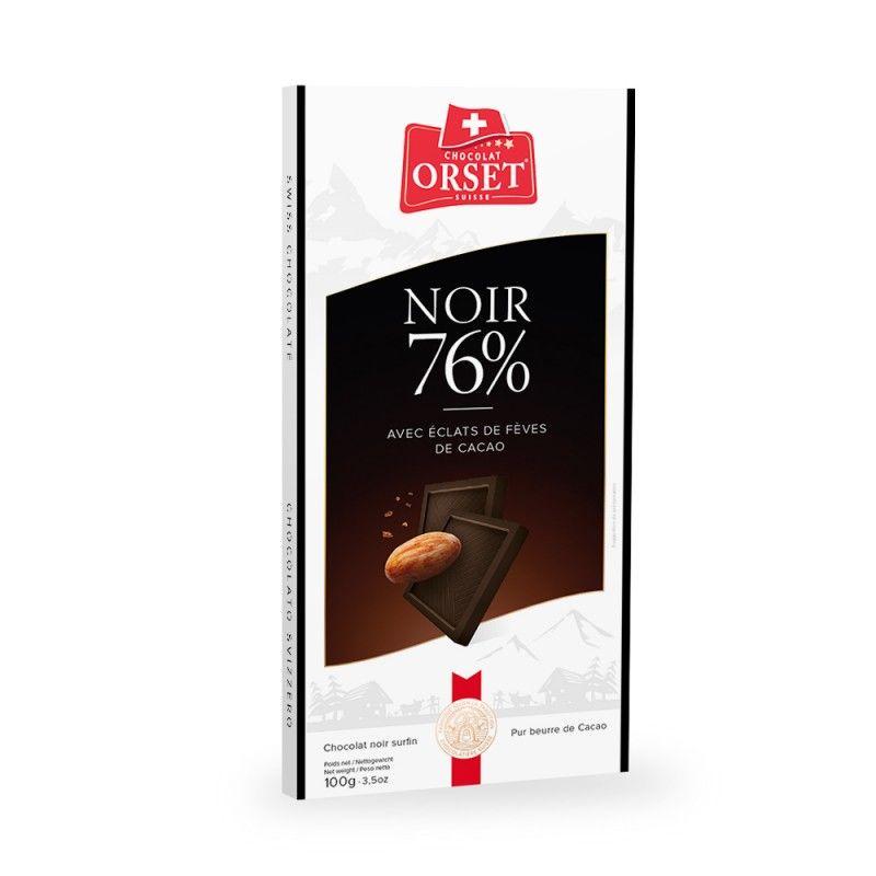 Tablette de chocolat noir 76% aux éclats de fèves de cacao